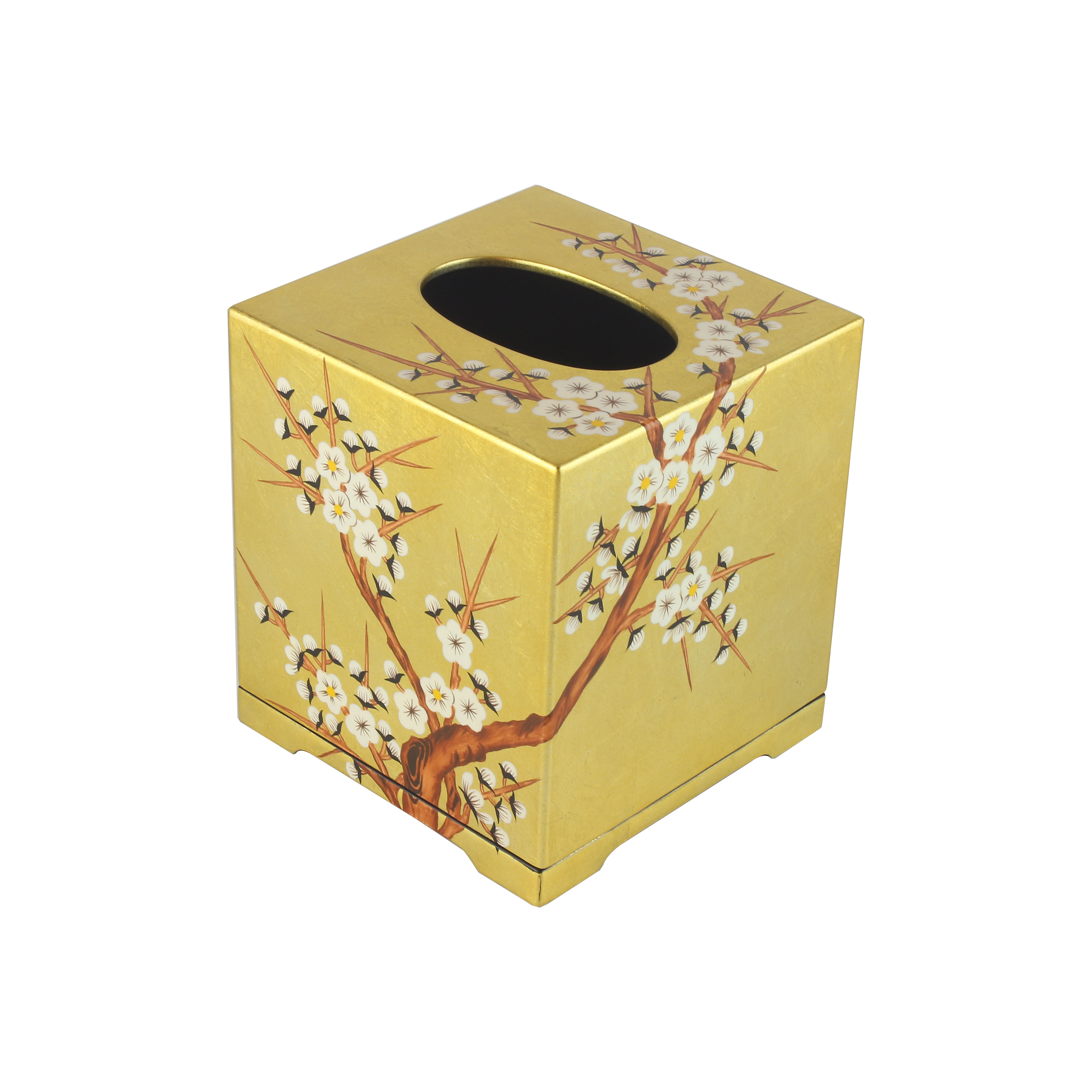 Handpainted Gold Inlay Square Tissue Box