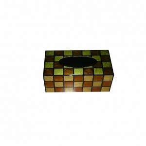 Handpainted Gold Inlay Tissue Box