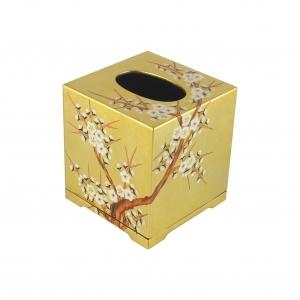 Handpainted Gold Inlay Square Tissue Box