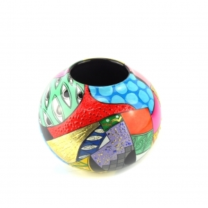 Handpainted Abstract Lacquer Vase