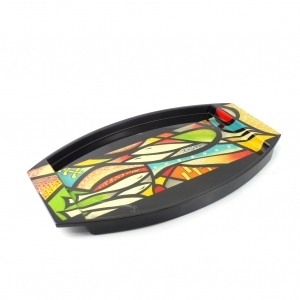 Handpainted Abstrasct Lacquer Tray